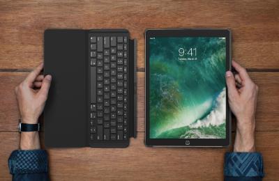 Logitechilta Slim Combo -näppäimistökansi iPad Prolle